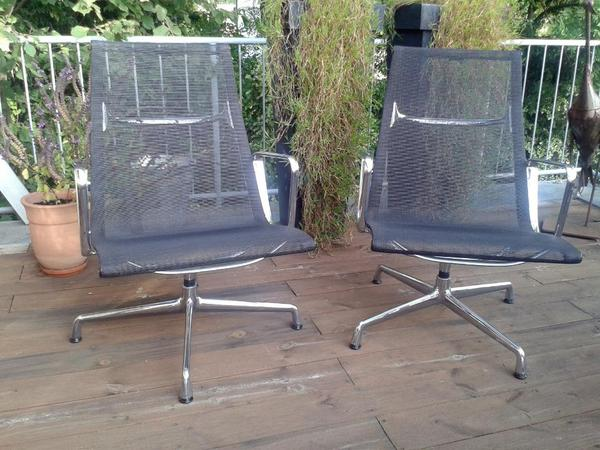 und ray eames stuhl mit hoher r ckenlehne seitenprofile spannb gel armlehnen und f e. Black Bedroom Furniture Sets. Home Design Ideas