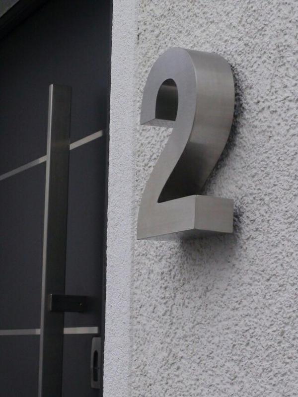 3d hausnummer 2 aus edelstahl geb rstet in witten dekoartikel kaufen und verkaufen ber. Black Bedroom Furniture Sets. Home Design Ideas