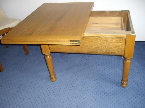 antik eiche wohnzi klapp tisch mit gr schublade in erdmannhausen stilm bel bauernm bel. Black Bedroom Furniture Sets. Home Design Ideas