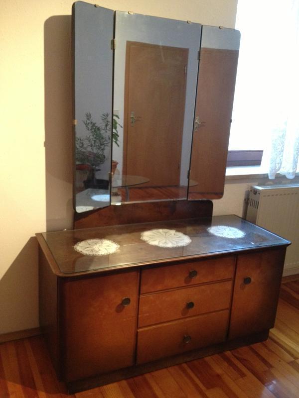 Antike kommode spiegelkommode wurzelholz 50er jahre - Antike schlafzimmermobel ...