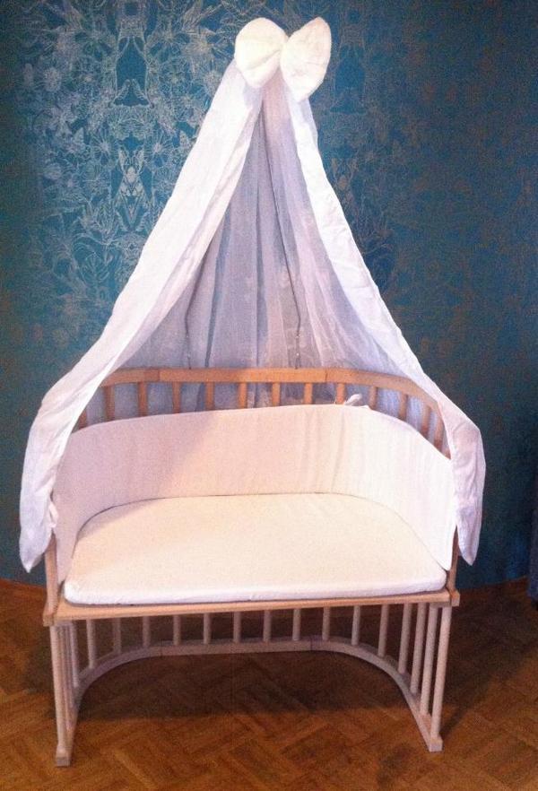 babybay beistellbett kernbuche natur mit himmel ovp komatratze 3 spannbettt chern in. Black Bedroom Furniture Sets. Home Design Ideas