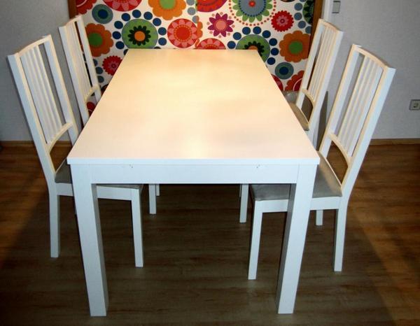 bjursta ausziehtisch wei neuwertig in asperg ikea m bel kaufen und verkaufen ber private. Black Bedroom Furniture Sets. Home Design Ideas