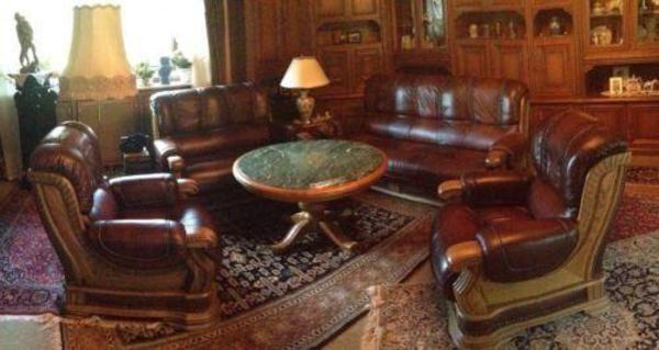 couch sofa polstergarnitur echt leder braun eiche dunkel. Black Bedroom Furniture Sets. Home Design Ideas