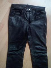 Damenbikerlederhose,schwarz,Gr.