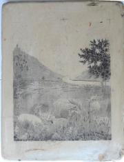 Dekorative alte Steindruckplatte -