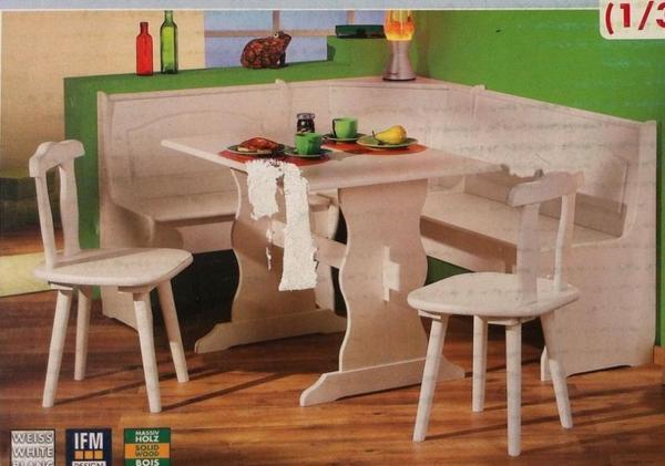 eckbankgruppe donau kiefer massiv wei. Black Bedroom Furniture Sets. Home Design Ideas