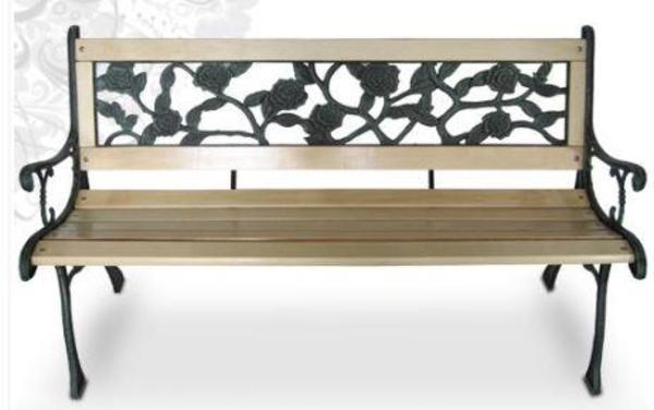 gartenbank hartholz mit gusseisen rosendesign neu in weinheim gartenm bel kaufen und. Black Bedroom Furniture Sets. Home Design Ideas