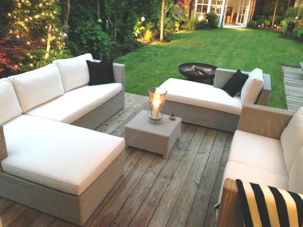 gartenm bel lounge hellgrau wei e polster in dortmund. Black Bedroom Furniture Sets. Home Design Ideas