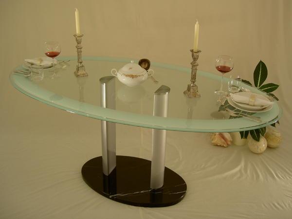 Glas esstisch mit marmor fu edel in wiesbaden speisezimmer essecken kaufen und verkaufen - Glas esstisch oval ...