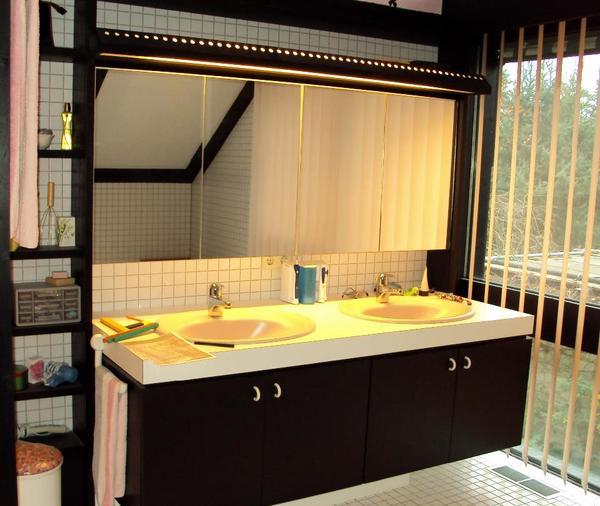 Grosser Waschtisch mit 2 Waschbecken, Regal, gr. Spiegelschrank in