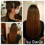 Haarverlängerung mit verschiedenen