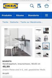 """IKEA Bjursta Klapptisch 90x50 cm Farbe schwarz Preis war 49,90 sehr guter Zustand Verkaufe hier einen gut erhaltenen schwarzen Klapptisch der Marke IKEA \"""" Bjursta\"""" er hat geringe Gebrauchsspuren und ist noch in einem guten Zustand! ... 19,- D-67685Eulen - IKEA Bjursta Klapptisch 90x50 cm Farbe schwarz Preis war 49,90 sehr guter Zustand Verkaufe hier einen gut erhaltenen schwarzen Klapptisch der Marke IKEA """" Bjursta"""" er hat geringe Gebrauchsspuren und ist noch in einem guten Zustand!"""