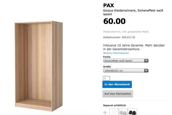 ikea pax korpus kleiderschrank eicheneffekt wei lasiert in gaggenau ikea m bel kaufen und. Black Bedroom Furniture Sets. Home Design Ideas