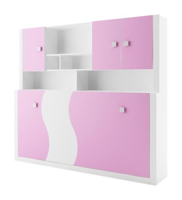 Jugendzimmer raumsparwunder querklappbett in rosa in for Jugendzimmer querklappbett