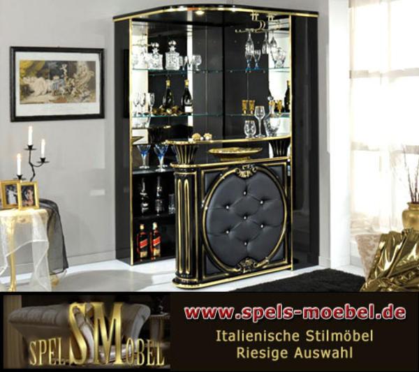 luxus m bel bar tresen wohnzimmer rossella schwarz gold hochglanz italienische klassische. Black Bedroom Furniture Sets. Home Design Ideas