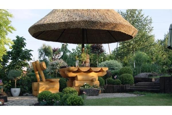 Gartenmobel Alu Polyrattan : Bild 4  Rustikale Gartenmöbel aus Massivholz Pavillon Gartenschirme