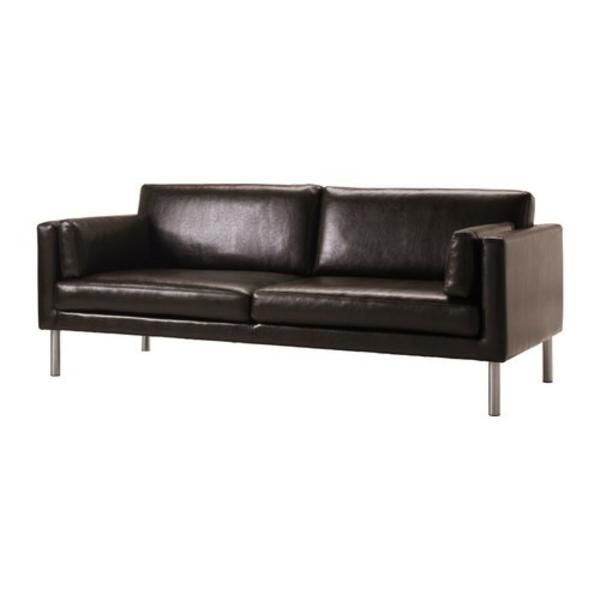 s ter ikea echt leder sofa couch 2 5 braun dunkelbraun. Black Bedroom Furniture Sets. Home Design Ideas