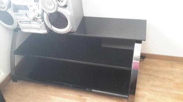 schwarzer fernsehtisch tv tisch glas f r gro en tv in langen phono tv videom bel kaufen. Black Bedroom Furniture Sets. Home Design Ideas