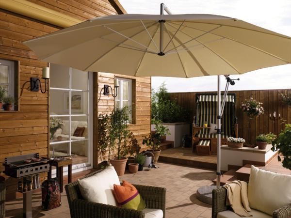 sonnenschirm von may 3 m naturweiss schwenkbar inkl 100 kg stein. Black Bedroom Furniture Sets. Home Design Ideas