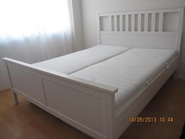 tolles ikea hemnes bett weiss komplett mit matrazen und. Black Bedroom Furniture Sets. Home Design Ideas