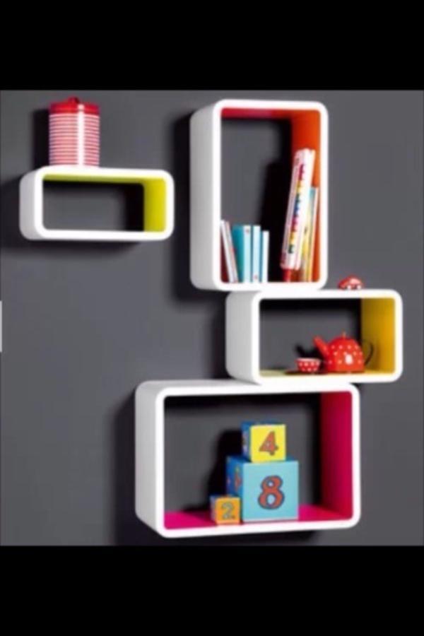 wandregal wandboard regal rechteck pink gelb neu. Black Bedroom Furniture Sets. Home Design Ideas