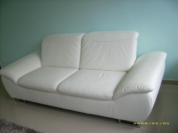 wei es ledersofa 2 5 sitz x2 b h t 216x80x94cm in stein. Black Bedroom Furniture Sets. Home Design Ideas