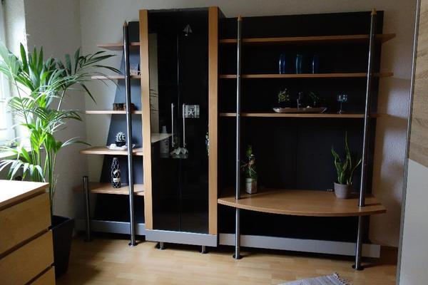 wohnwand schrank schrankwand buche nachbildung mit vitrine in m nchen wohnzimmerschr nke. Black Bedroom Furniture Sets. Home Design Ideas