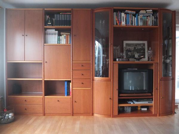wohnwand und vitrine von h lsta programm linea dc in. Black Bedroom Furniture Sets. Home Design Ideas
