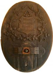 1893 Fassdeckel Fassfront Eiche antik