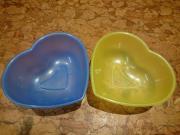 2 Herz Schüsseln Herzform blau