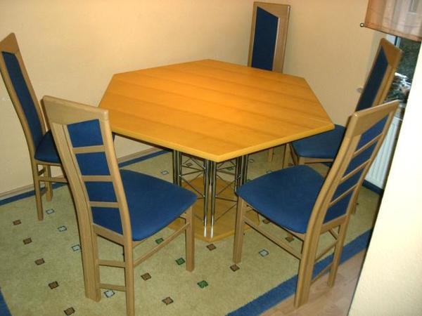 4+1 blaue Buche Esstisch-Stühle Esszimmer-Tisch Wohnzimmer Essecke ...