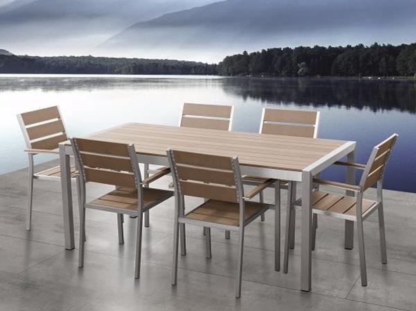 Gartenmobel Holz Niederlande : Aluminium Gartenmöbel Set braun  Tisch 180cm  6 Stühle  Polywood