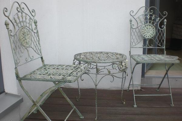 balkon garten sitzgruppe metall tisch stühle in neumünster, Garten ideen