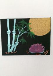 Bambus mit Lotusblüte