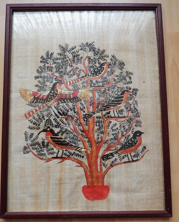 bild gyptischer lebensbaum auf papyrus holzrahmen. Black Bedroom Furniture Sets. Home Design Ideas