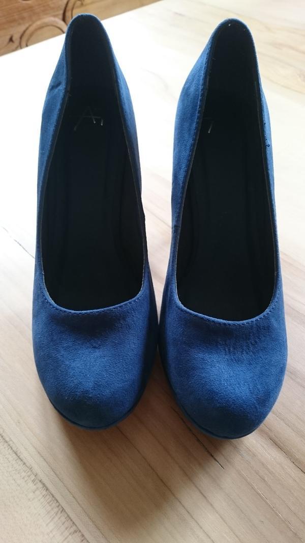 da8fbf1923f158 Blaue Pumps Damenschuhe Wildlederoptik Gr