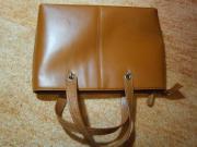 Braun- Dunkelorangefarbene Handtasche groß