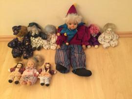 Puppen - Clown Harlekin Sammelpuppen 9 Stück