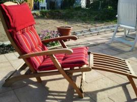 Gartenmöbel - Deck-Chair Liegestuhl mit Fußteil das