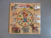 Holzpuzzle mit Uhr