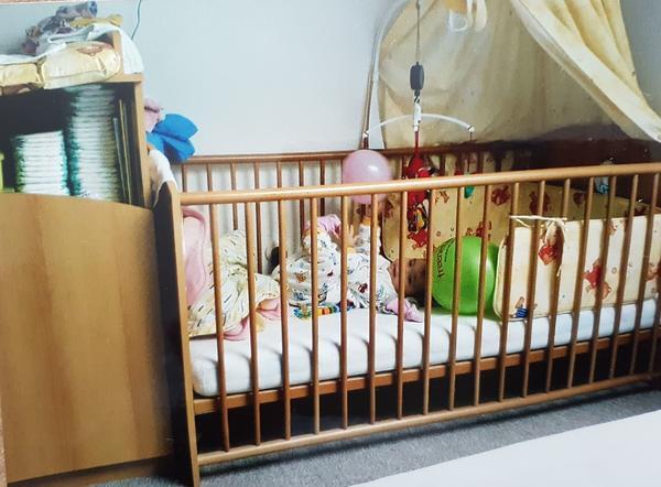 babybett mit himmel und ankauf und verkauf anzeigen. Black Bedroom Furniture Sets. Home Design Ideas