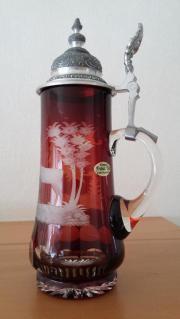 Kristall-Bierkrug rubinrot mit Zinndeckel