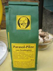 leckere Trockenpilze in Rohkostqualität Parasol