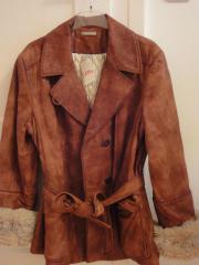 Lederjacke mit einknöpfbarem Kuschelpelz Gr