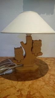 Nachttischlampe Eulen Massivholz mit beigen
