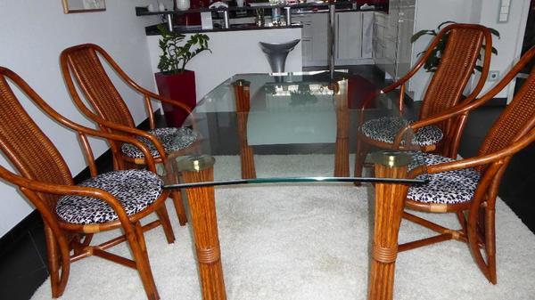 rattan st hle glastisch original sch tz in balingen speisezimmer essecken kaufen und. Black Bedroom Furniture Sets. Home Design Ideas