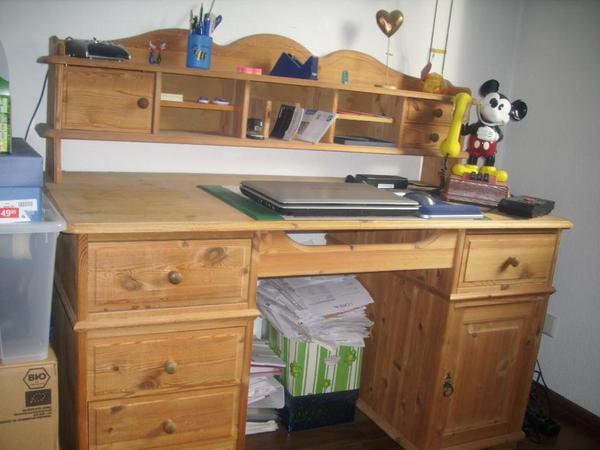 Schreibtisch computertisch kiefer massiv farbe for Schreibtisch in kiefer