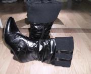 Schwarz Kunst Lederstiefel mit Strickbund