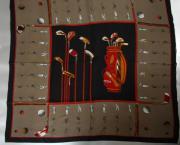 Seidentuch Golfmotiv 120x120cm
