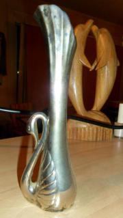 Silberne Schwanen-Vase